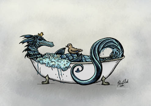Dragon and bathtub ducks