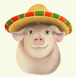 pig in a sombrero by Mboyajian