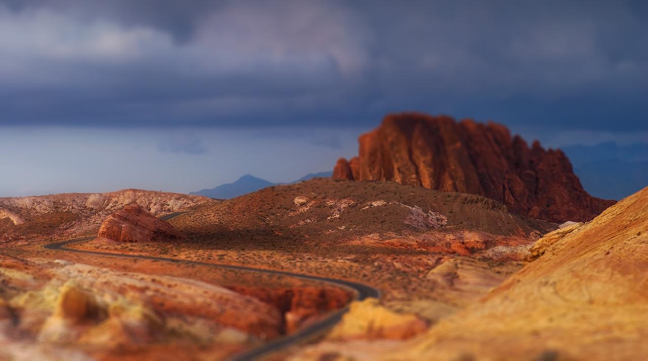 Road and Red Rock Tilt Shift