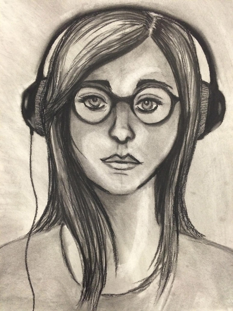 Charcoal Self Portrait by GrimKreaper