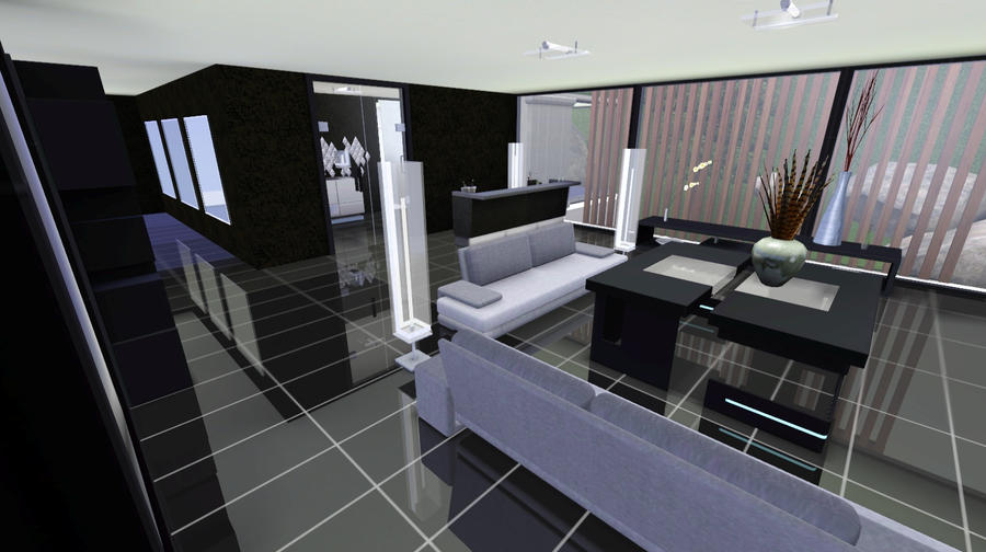Sims 3 modern mansion blue lake by thor dg on deviantart for Sims 3 interior design kitchen