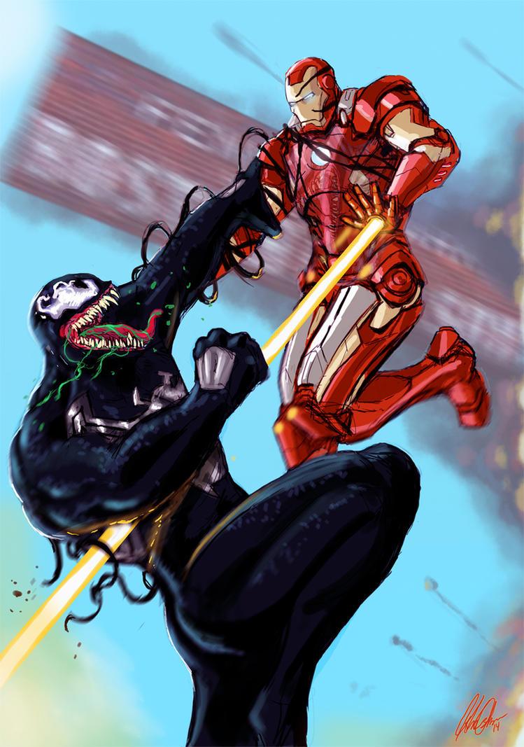 Iron Man Vs Venom Commission by JohnOsborne