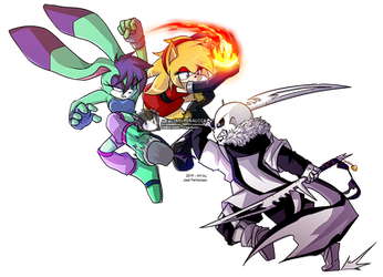 COMMISSION - Asuka and Iblis VS Cross by JakeiArtwork