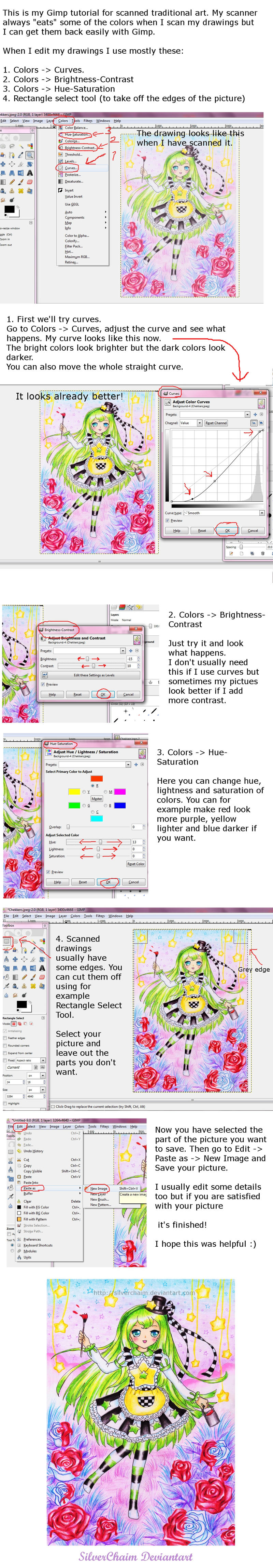 Gimp tutorial for scanned drawings by SilverChaim