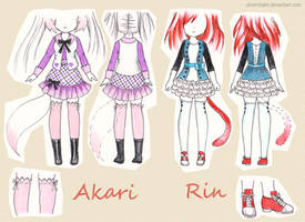 C: Akari and Rin outfit reference by SilverChaim