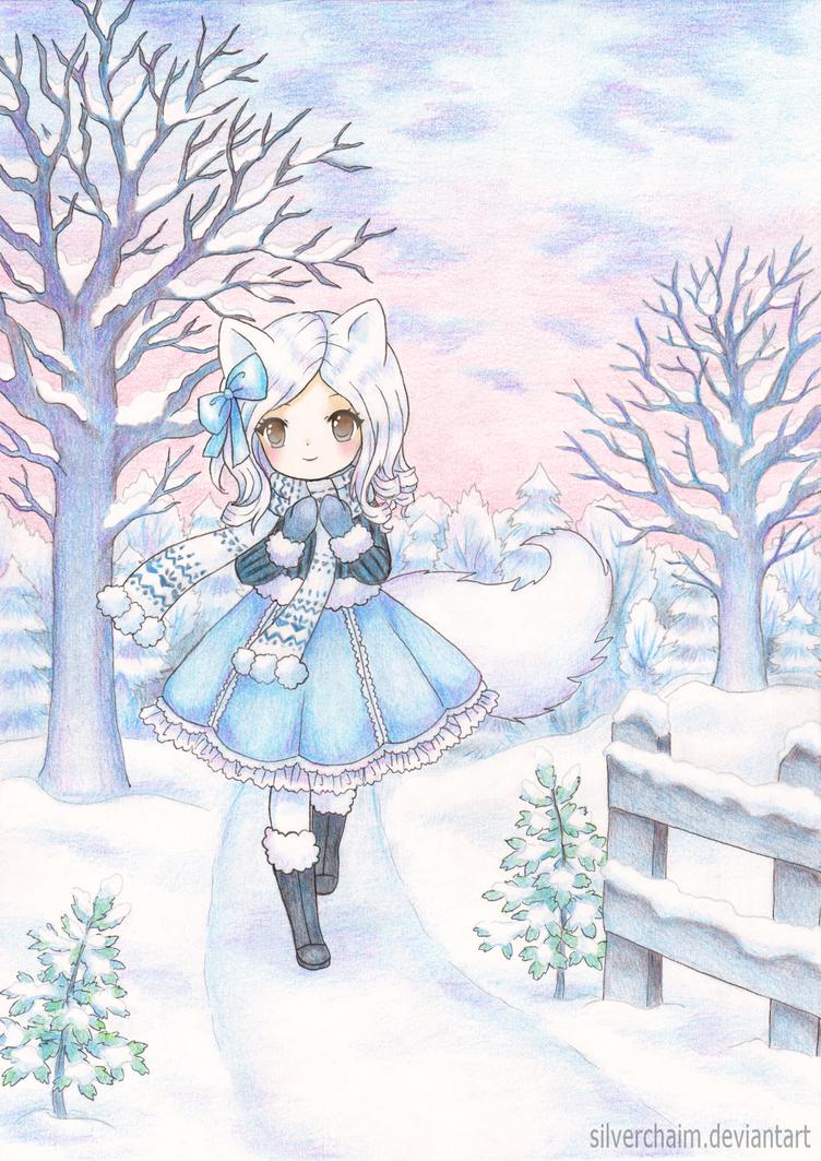 C: Winter fox by SilverChaim