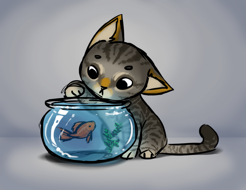 Cat and fish by MaidenOfTheBlade