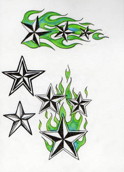 Flaming star tattoo no2