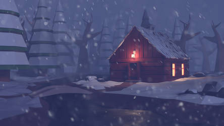 Winter cabin in the woods - Low poly