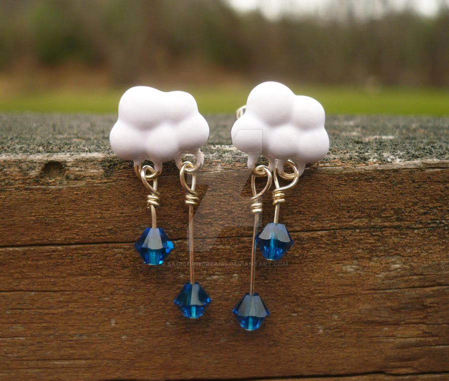 Rain Cloud Earrings by sagicornDreams