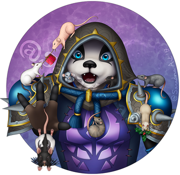 Commission - Pandaren monk with rats by SaradoraArt