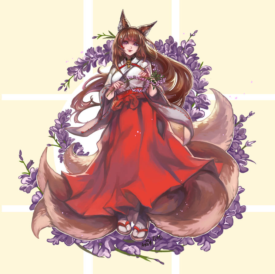 ~Miko Kitsune Amagi~ by white-angel-ariah