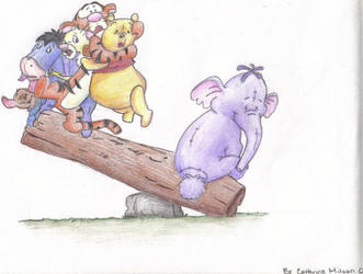 Pooh Bear and friends drawn in colored pencil by ChaotikCat84