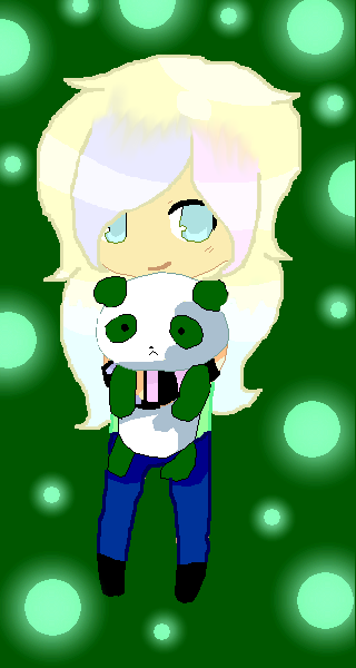 Makayla and her green Panda from Lloyd! by MintyMagic74