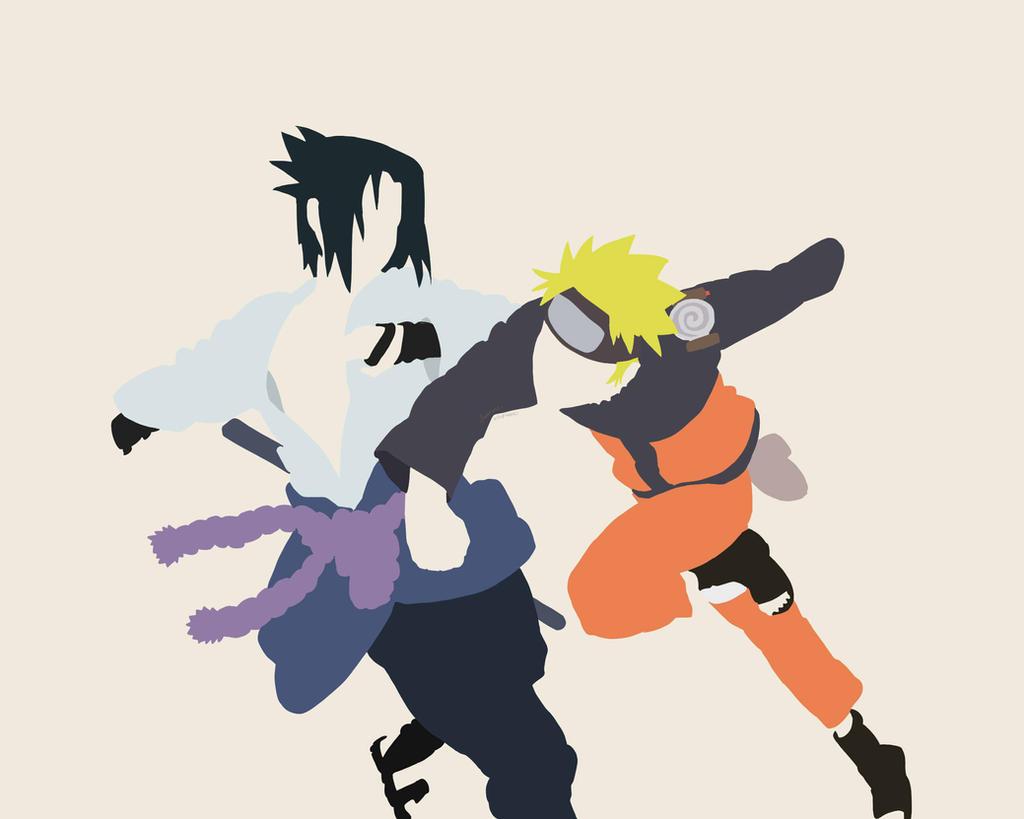 Sasuke Minimalista Fondo: Sasuke And Naruto Fighting Minimalism Wallpaper By Laurens