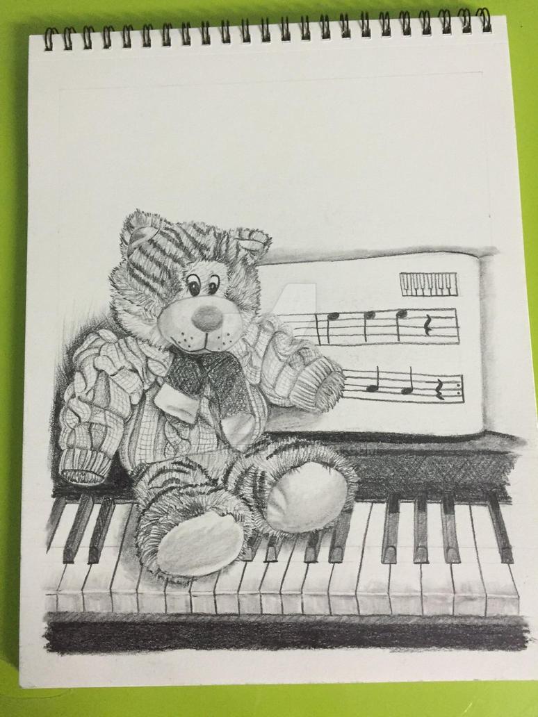 Cat on Piano by cutiepretz