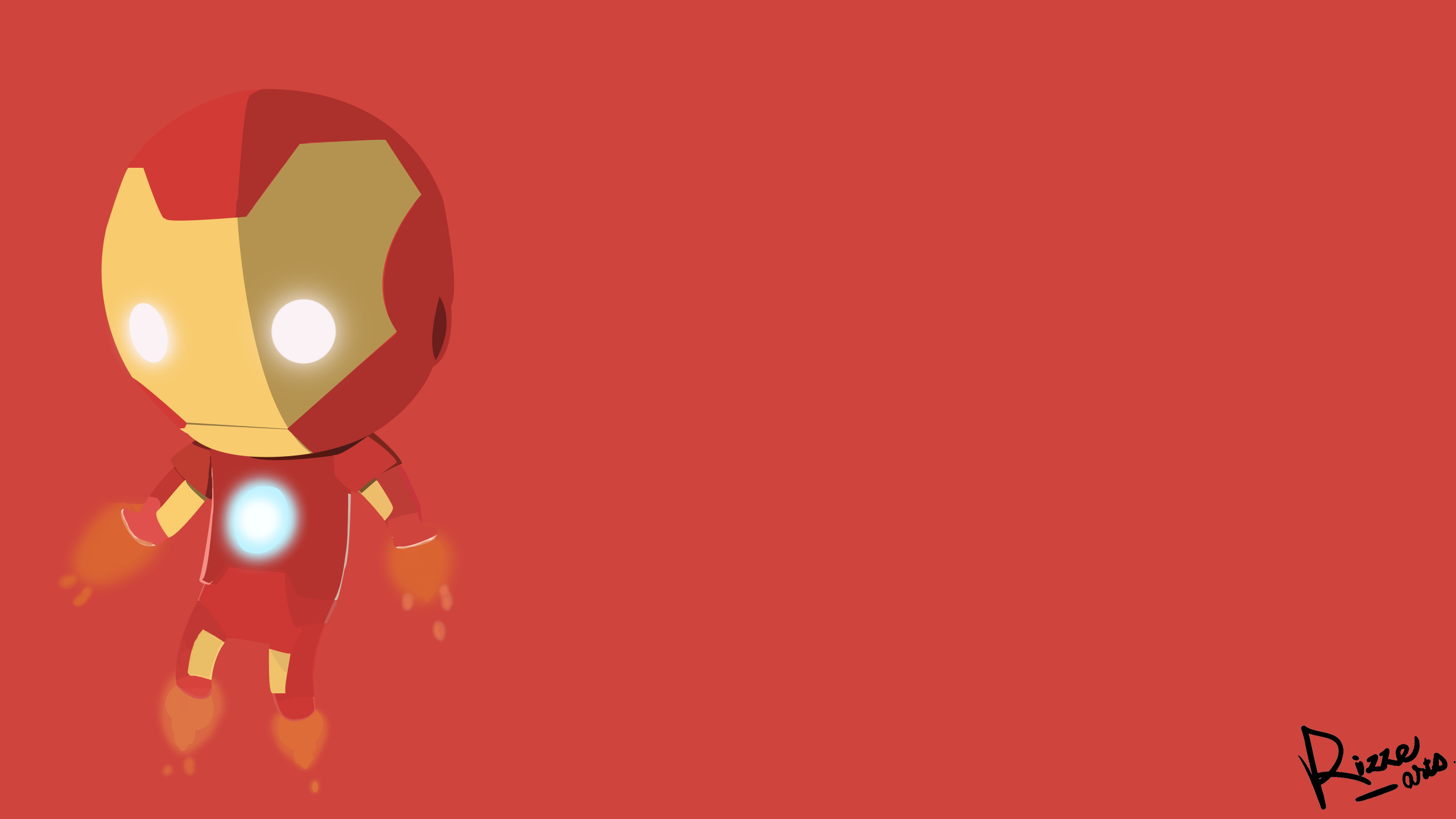 Iron MAn CHibi Design With Logo By RizZeArtZ