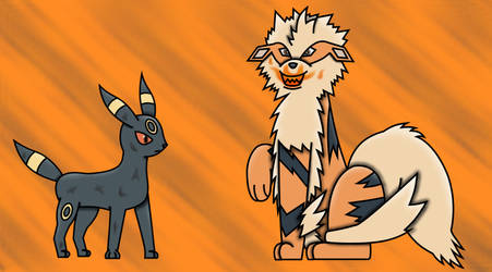 Arcanine and Umbreon by I-Write-Strangely