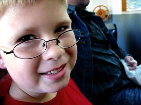 little boy on a train
