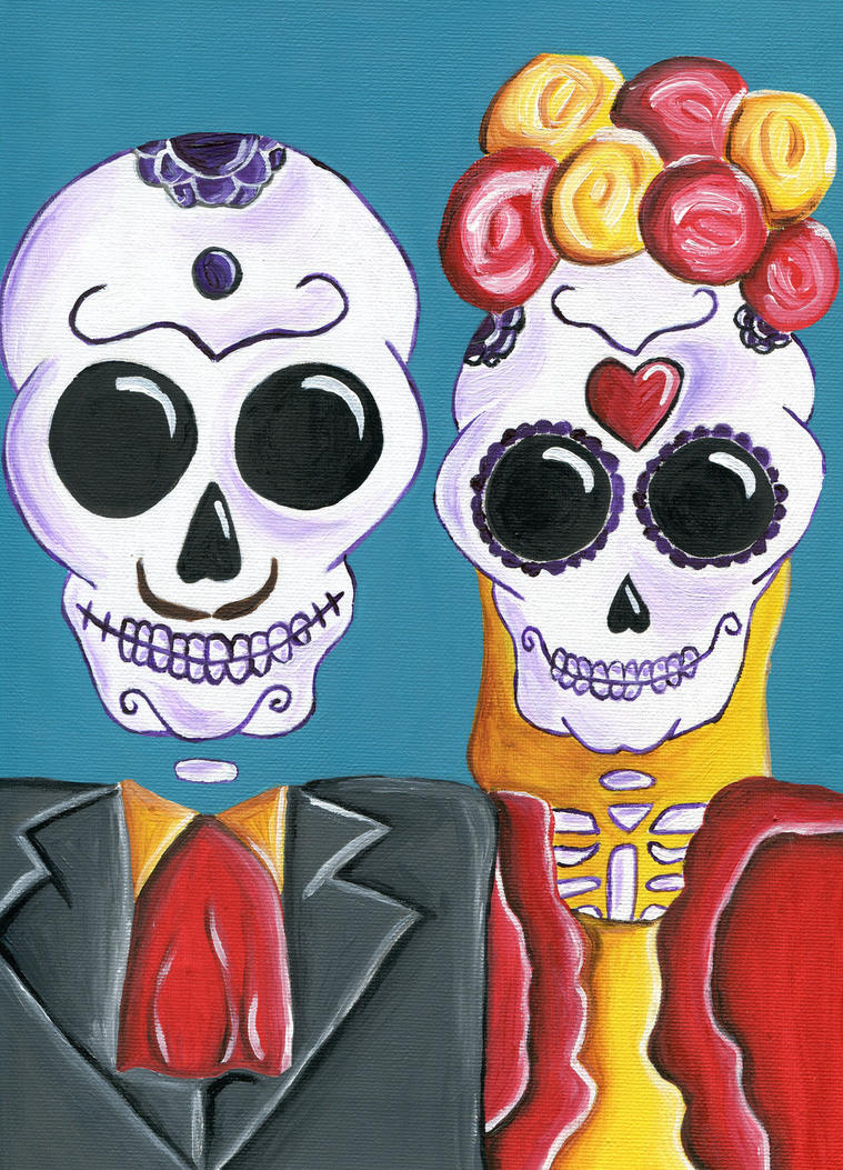 Day Of The Dead Couple By Tinadragonfly