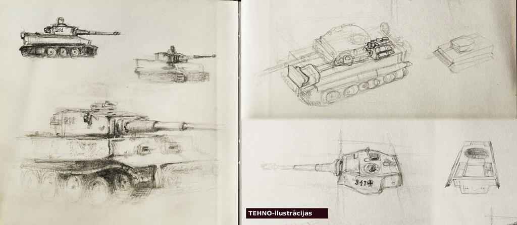 Techno-illustration - Tiger sketches by Pumais