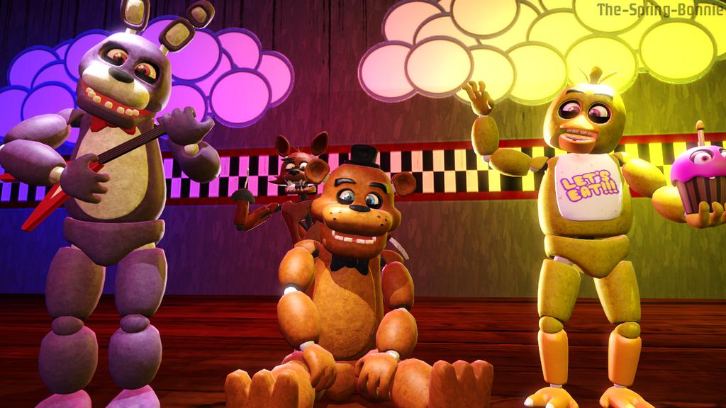 Freddy fazbear and his band of cute fellas by the spring bonnie on