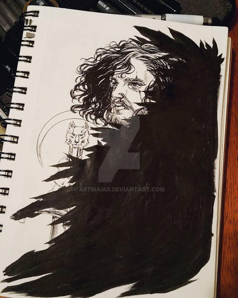 Sketchbook: Jon Snow Ink Drawing by artmaiar