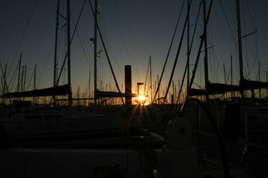 Sunset in a port 2 by Owps