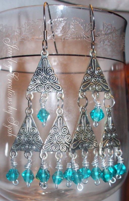 Blue Beaded Chandelier Earrings by syah-mj