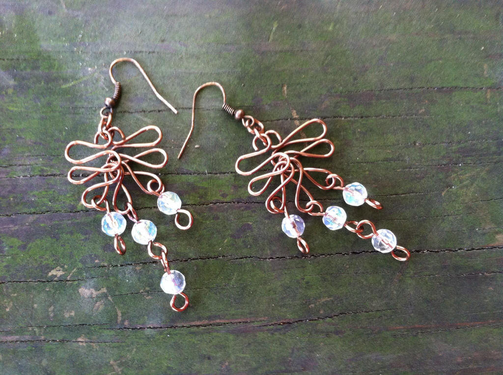 Copper and Crystal bead earrings by syah-mj