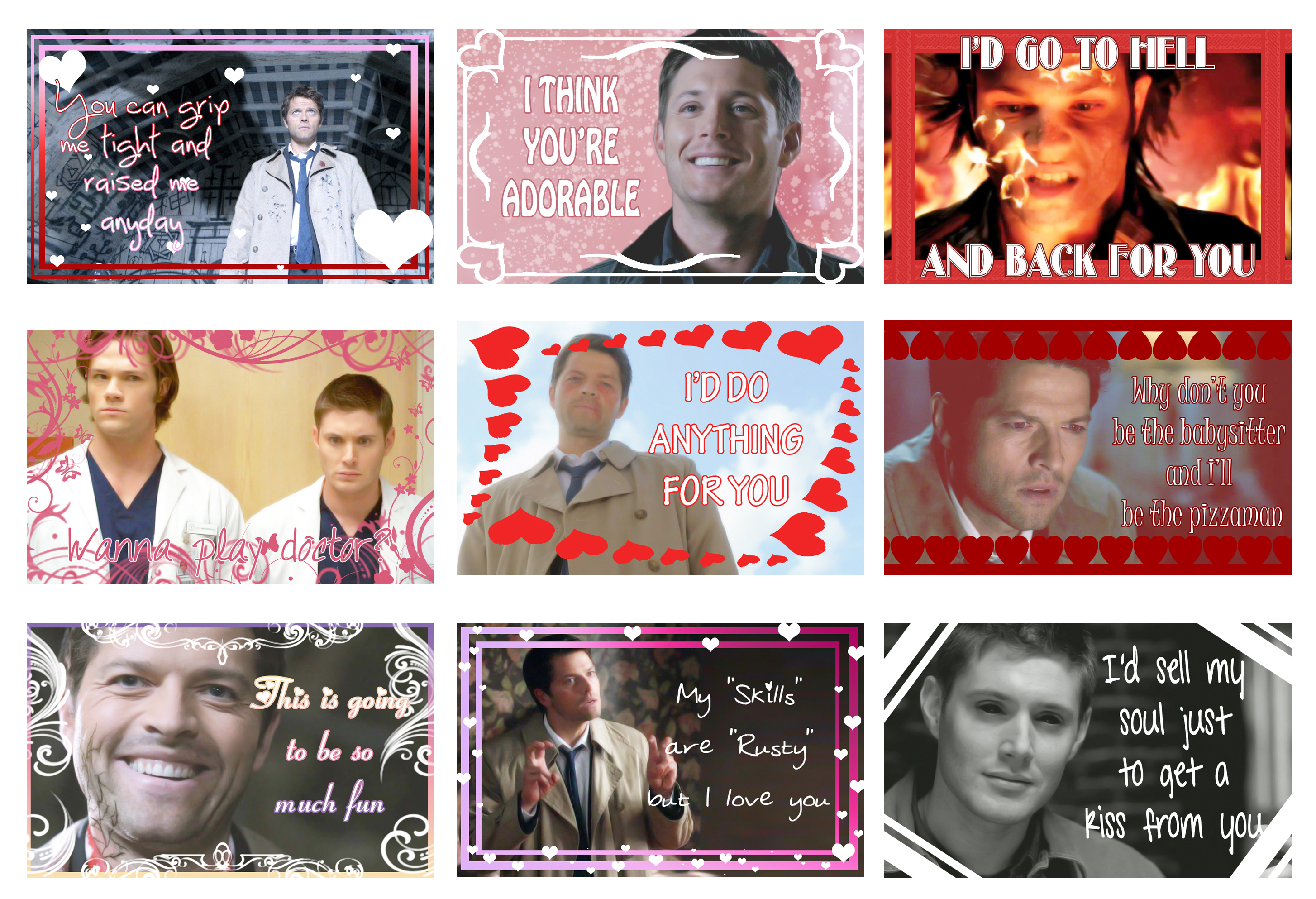 SPN Valentine's Cards by jalonzo1610