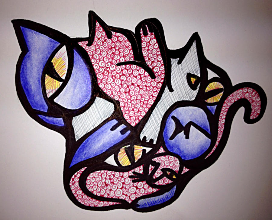 Cubist kitties by mbchickenleg