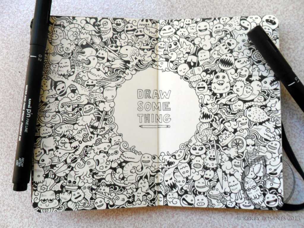 MOLESKINE DOODLES: DRAW SOMETHING by kerbyrosanes