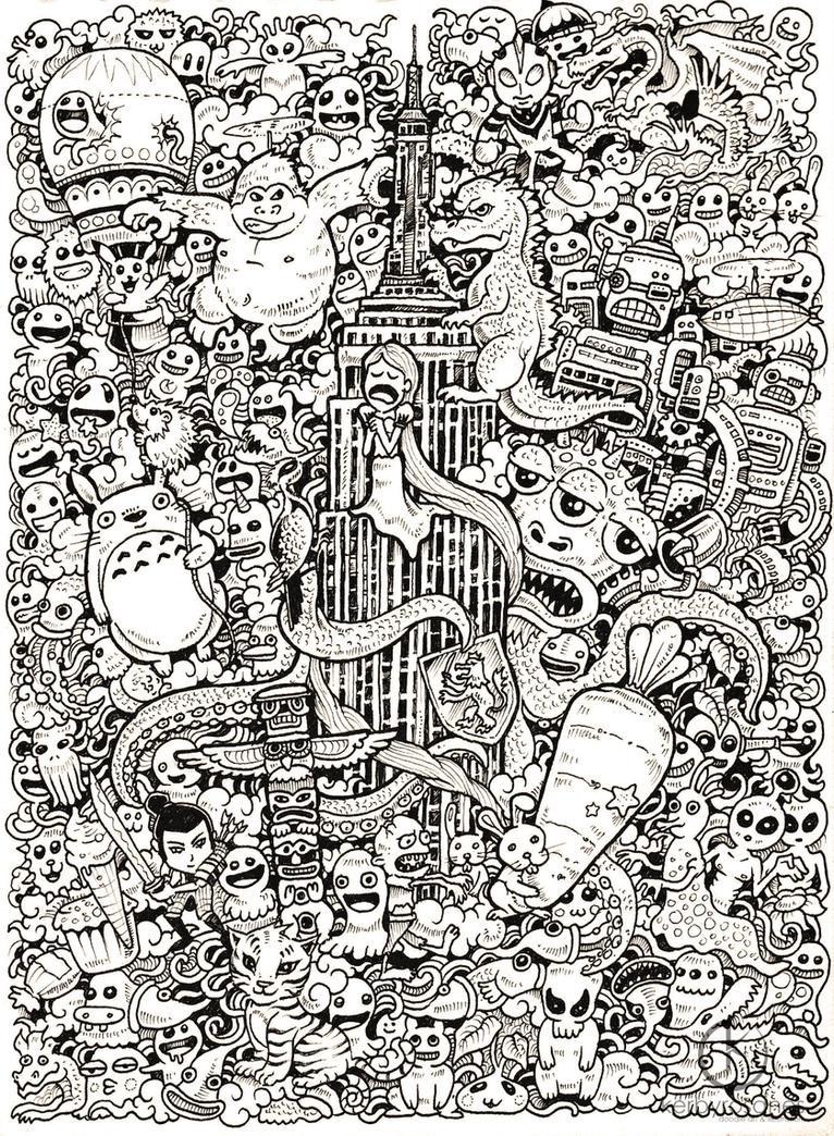 doodle coloring pages - facebook doodle collaboration by kerbyrosanes on deviantart