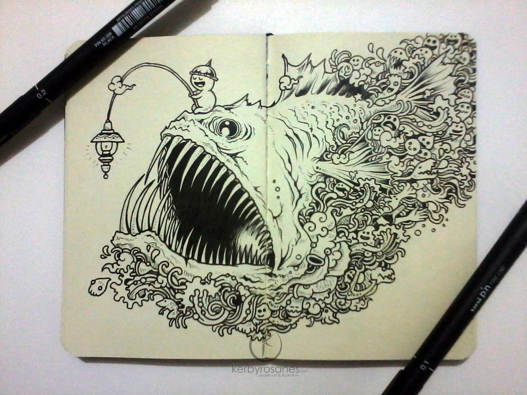 MOLESKINE DOODLES Angry Angler By Kerbyrosanes