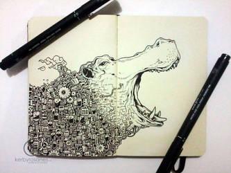 MOLESKINE DOODLES: River Horse by kerbyrosanes