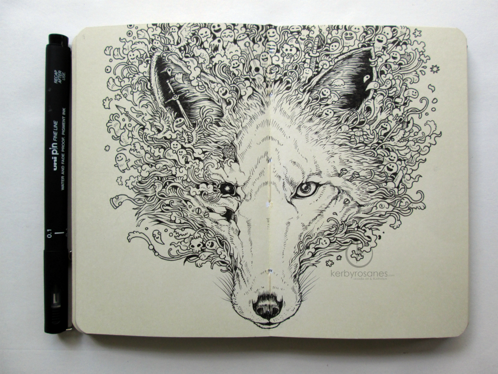 MOLESKINE DOODLES: Fox Ruins by kerbyrosanes