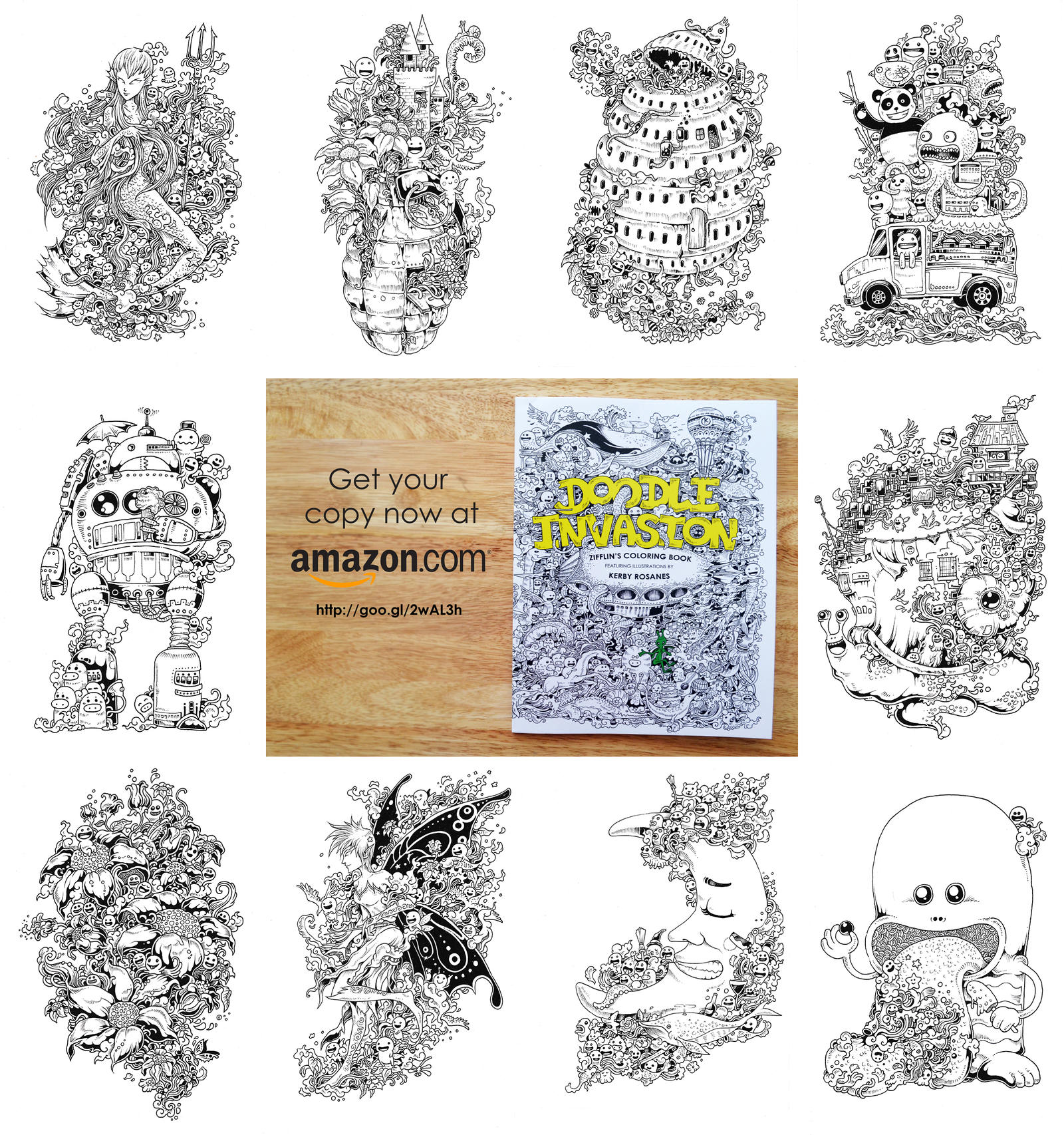 Selected Pages From Doodle Invasion Coloring Book By