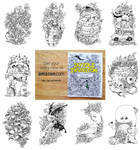 Selected Pages from Doodle Invasion Coloring Book