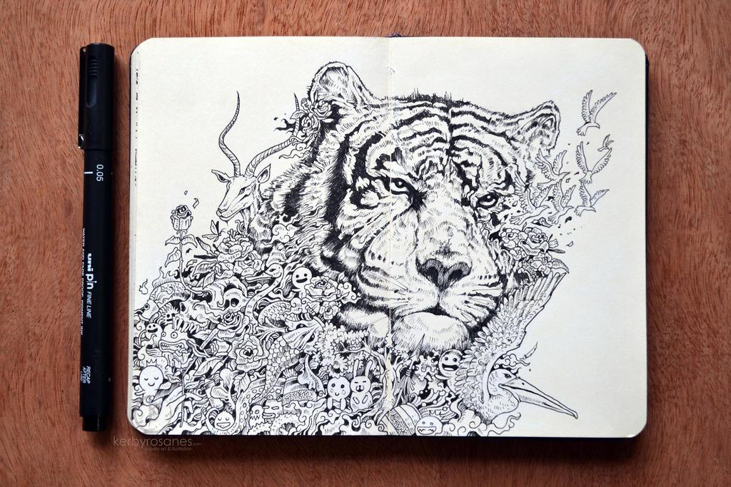 MOLESKINE DOODLES White Tiger By Kerbyrosanes