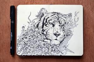 MOLESKINE DOODLES: White Tiger by kerbyrosanes