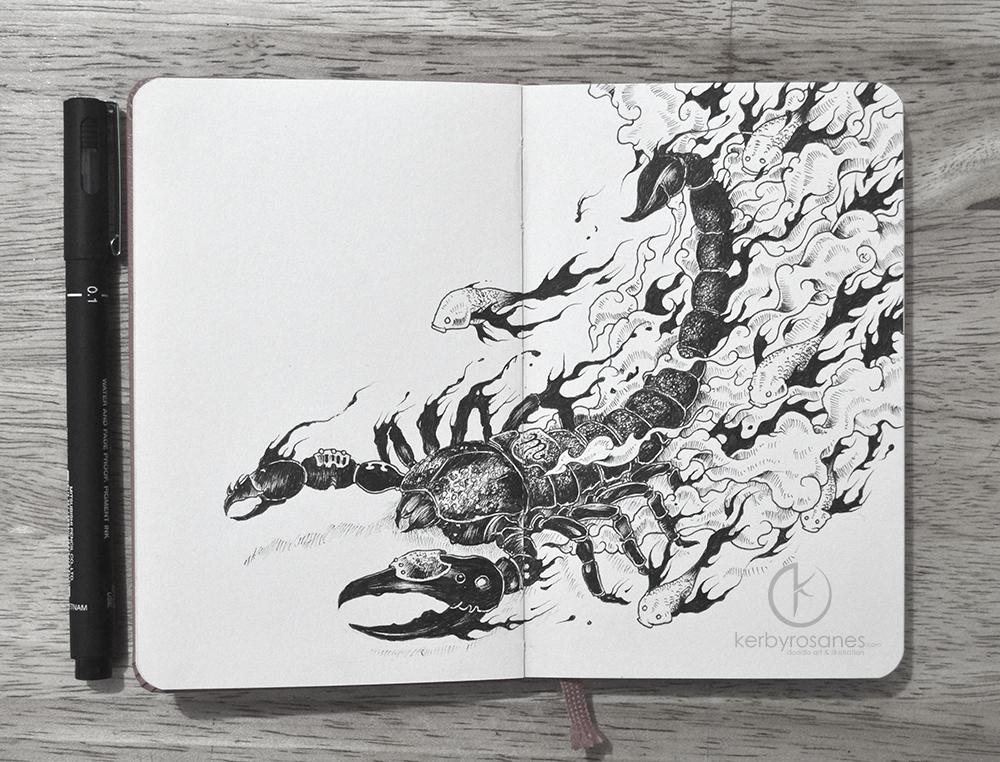 MOLESKINE DOODLES Scorpio By Kerbyrosanes