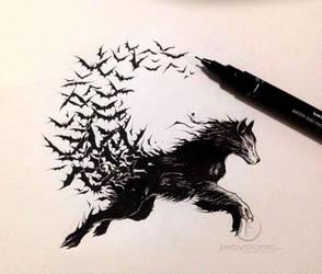 Vampire Wolf by kerbyrosanes