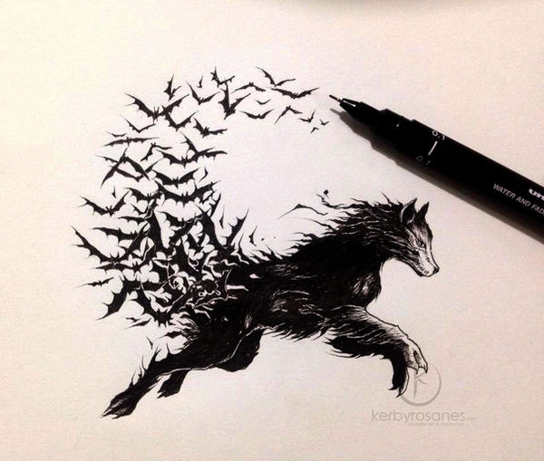 Eagle Vs Dragon Drawing Vampire Wolf by kerbyr...