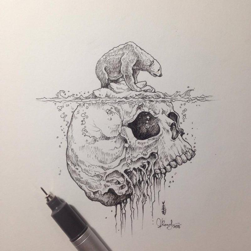 Air Pollution Skull : Warming by kerbyrosanes on deviantart