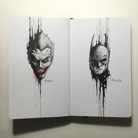 The Dripping Portraits: The Joker x Batman by kerbyrosanes