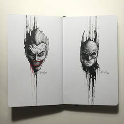The Dripping Portraits: The Joker x Batman by kerbyrosanes