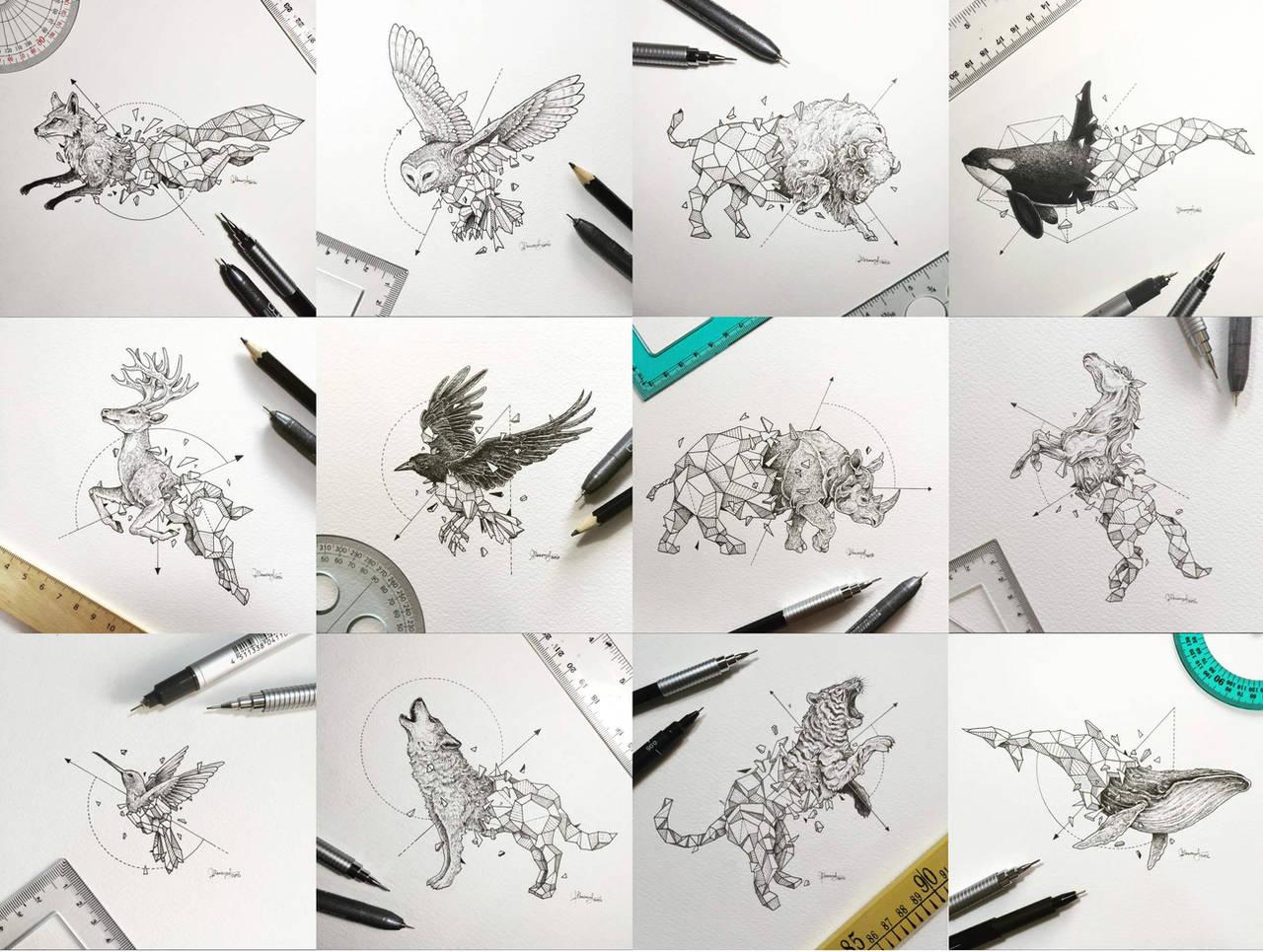 Geometric Beasts Series by kerbyrosanes