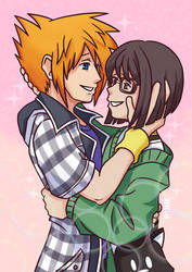Neku and Shiki Holding Each Other