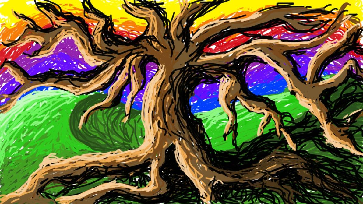 Sketchy Rainbow Tree by Trip-Artist
